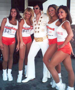 "Don Obusek (""Elvis"") with the girls from ""Hooters"""